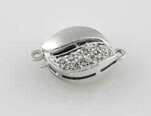 Perlenkettenschloß 585/000 14 K Weißgold 18 Diamanten zus. 0,20 ct