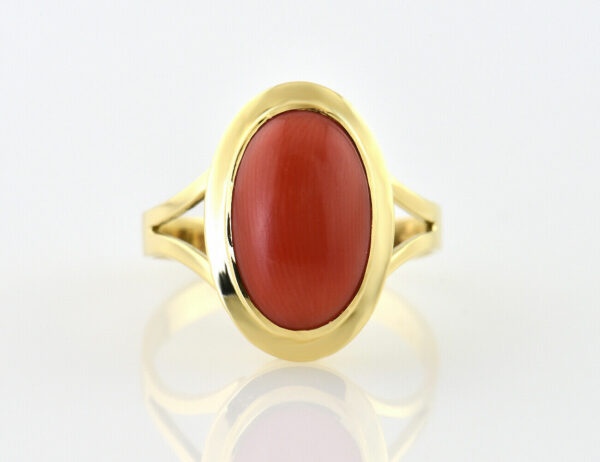 Ring Koralle 750/000 18 K Gelbgold