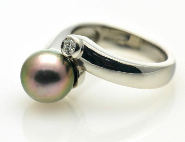Ring Tahitiperle 950/000 Platin Brillant 0,10 ct