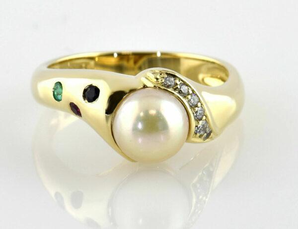 Ring Zuchtperle 585/000 14 K Gelbgold, 6 Diamanten zus. 0,10 ct