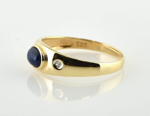 Saphir Diamantring 585/000 14 K Gelbgold 2 Diamanten zus. 0,02 ct