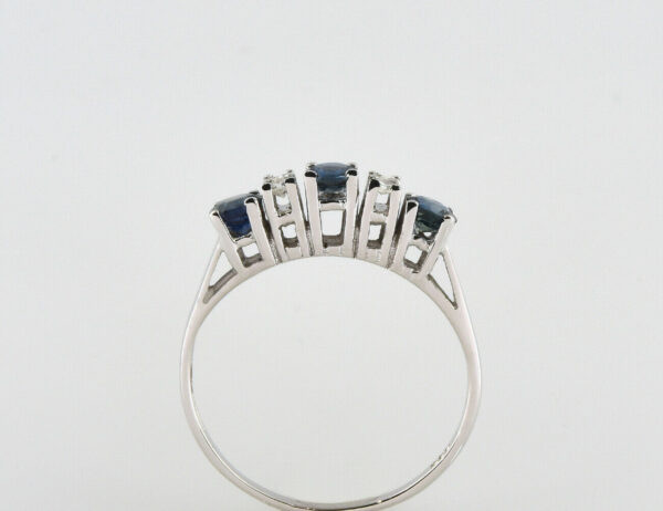 Saphir Diamantring 585/000 14 K Weißgold 4 Diamanten zus. 0,12 ct