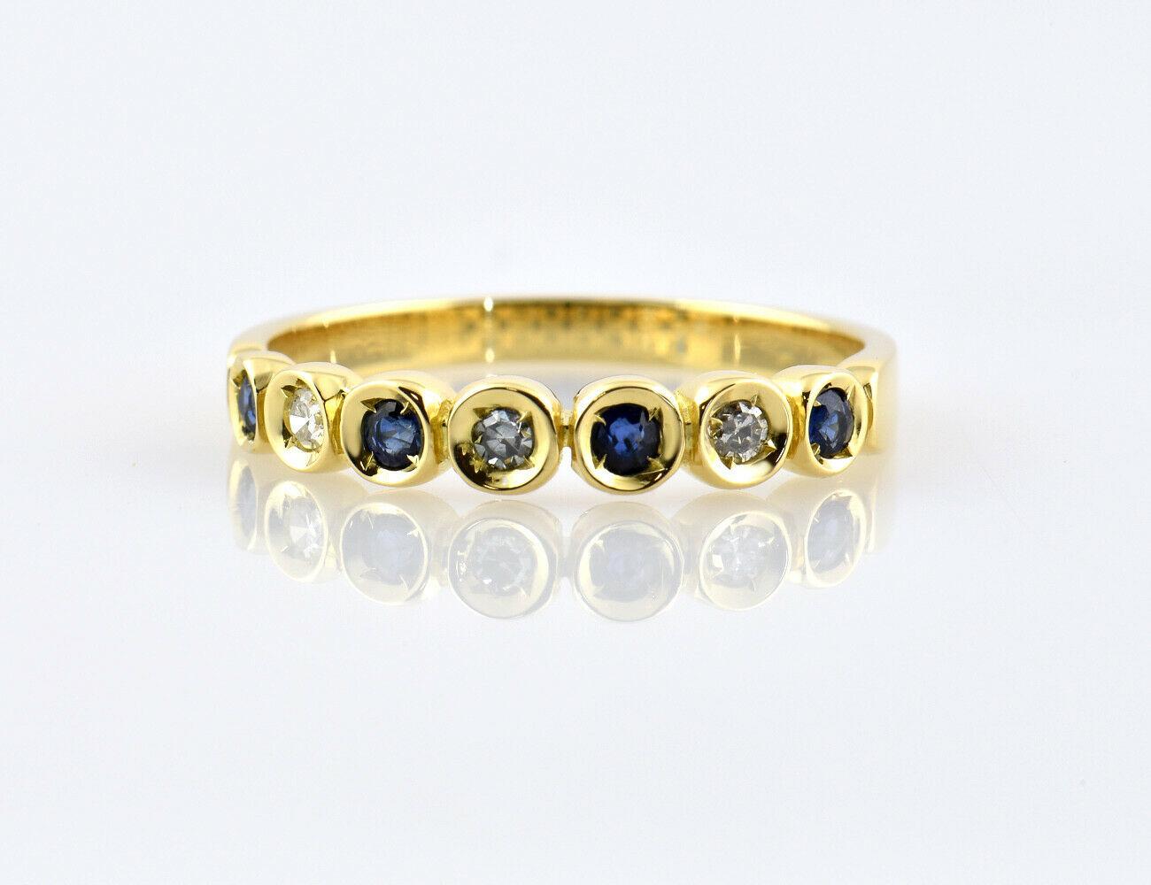Saphir Diamantring 750/000 18 K Gelbgold 3 Brillanten zus. 0,05 ct