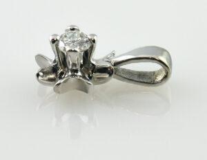 Solitär Anhänger Diamant 585 14 K Weißgold Brillant 0,13 ct