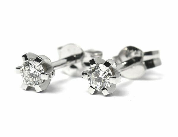 Solitär Brillant Ohrstecker Ohrringe 585 14K Weißgold, 2 Diamanten zus. 0,322 ct